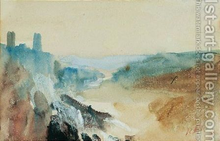 A river in a hilly landscape and a boat on a river three by Hercules Brabazon Brabazon - Reproduction Oil Painting