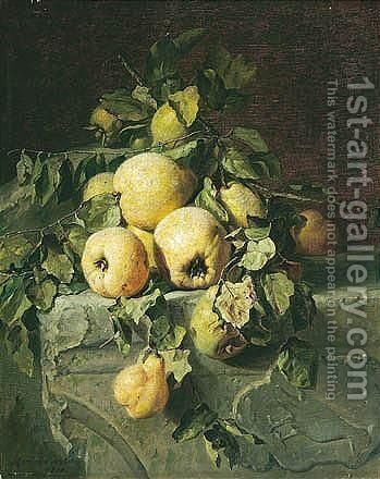 Still Leven Met Peeren (Still Life With Quinces) by Adriana-Johanna Haanen - Reproduction Oil Painting