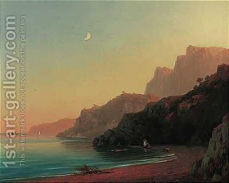 Bathing at sunset in the cove by Ivan Konstantinovich Aivazovsky - Reproduction Oil Painting