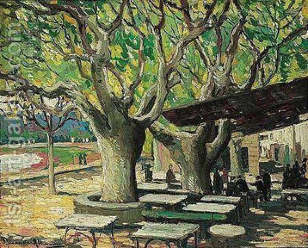 Cafe scene under the trees by Alexander Altmann - Reproduction Oil Painting