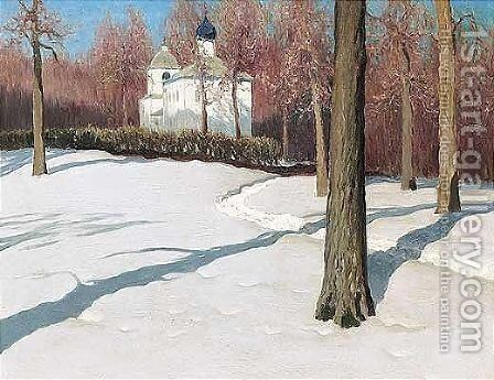 Snow path to the church by Mikhail Markianovich Germashev - Reproduction Oil Painting