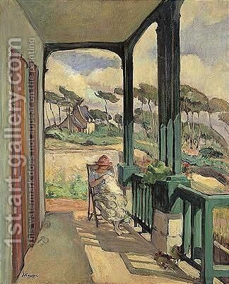 Morgat, La Couture Sur La Terrasse En Ete by Henri Lebasque - Reproduction Oil Painting