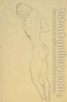 Standing Nude Female by Gustav Klimt - Reproduction Oil Painting