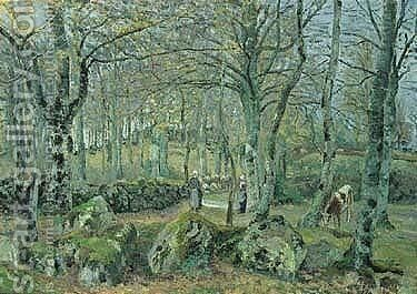 Paysage avec rochers by Camille Pissarro - Reproduction Oil Painting