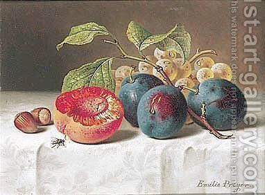 Still Life With Peach And Prunes (Still-leben Mit Pfirsich Und Pflaumen) by Emilie Preyer - Reproduction Oil Painting