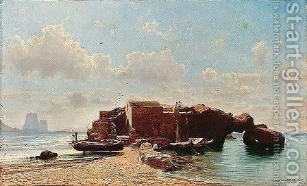 View of capri by Aleksei Petrovich Bogoliubov - Reproduction Oil Painting