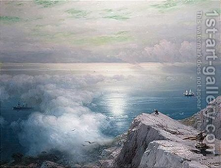 A rocky coastal landscape in the aegean with ships in the distance by Ivan Konstantinovich Aivazovsky - Reproduction Oil Painting