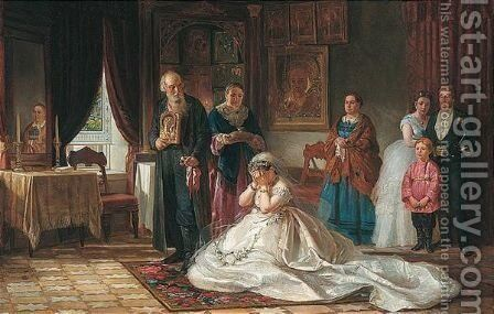 Before the wedding by (after) Fris Sergeevich Zhuravlov - Reproduction Oil Painting