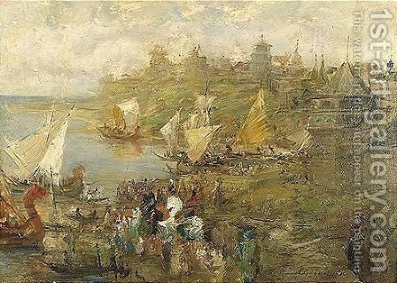 Old russian town by Andrei Petrovich Riabushkin - Reproduction Oil Painting