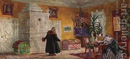 Set design for the power of the enemy by Boris Kustodiev - Reproduction Oil Painting