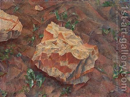Study of a rock by (after) Kuzma Sergeevich Petrov-Vodkin - Reproduction Oil Painting