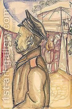 Soldier in profile with horse by Boris Dmitrievich Grigoriev - Reproduction Oil Painting