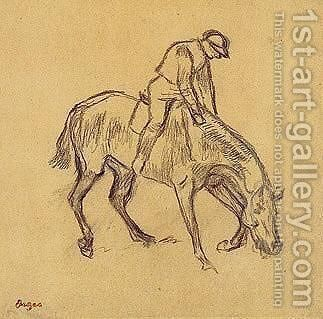 Cheval Monte S'Abreuvant by Edgar Degas - Reproduction Oil Painting