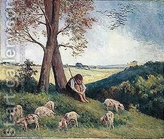 Rolleboise, Le Gardien De Cochons by Maximilien Luce - Reproduction Oil Painting