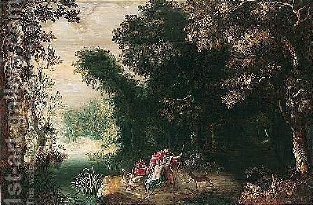 Venus and Adonis in a wooded landscape by (after) Abraham Govaerts - Reproduction Oil Painting