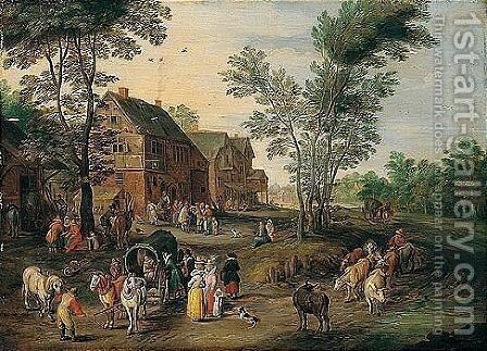A Village Scene With A Wagon And Elegant Figures Halted Near An Inn by (after) Jan The Elder Brueghel - Reproduction Oil Painting