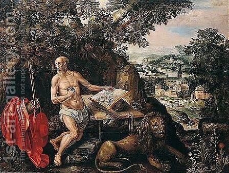 Saint Jerome In A Landscape by Hendrick De Clerck - Reproduction Oil Painting