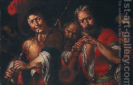 i Pifferai by (after) Bernardo Strozzi - Reproduction Oil Painting