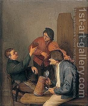 Three Peasants Drinking, Smoking And Playing The Violin In A Tavern Interior by Adriaen Jansz. Van Ostade - Reproduction Oil Painting