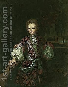 Portrait Of A Boy, Three Quarter Length, In An Ornamental Garden With His Dog by Constantin Netscher - Reproduction Oil Painting