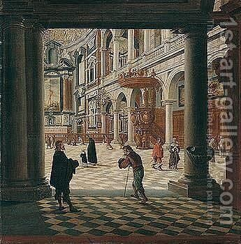 Interior Of The Jesuit Church, Antwerp by Bartholomeus Van Bassen - Reproduction Oil Painting
