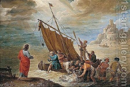 The Miraculous Draught Of Fishes by David The Younger Teniers - Reproduction Oil Painting