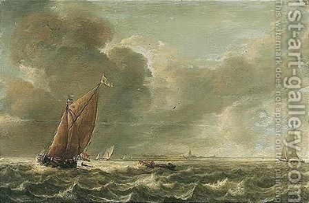 Seascape With A Smalschip And Other Light Vessels In A Stiff Breeze by Abraham Hendrickz Van Beyeren - Reproduction Oil Painting