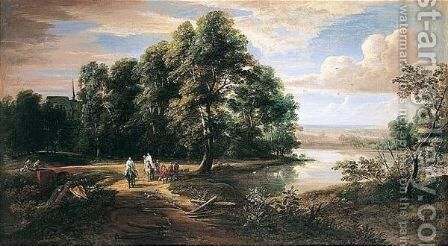 An Extensive River Landscape With Travellers And A Priest Near A Chateau by (after) Lucas Achtschellink - Reproduction Oil Painting