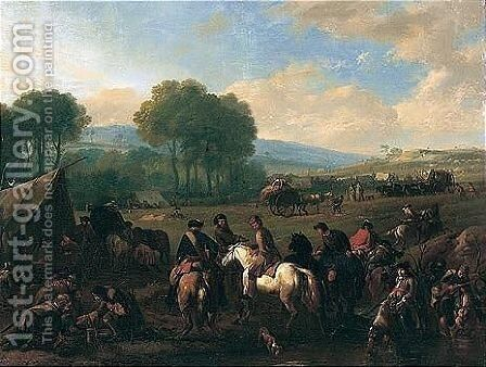 A Military Encampment In An Open Landscape With Cavaliers Conversing By A Pool by Jan von Huchtenburgh - Reproduction Oil Painting