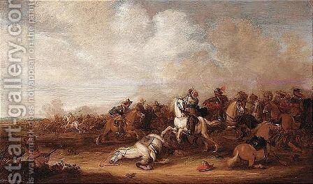 A Cavalry Engagement by Abraham Van Der Hoeff - Reproduction Oil Painting