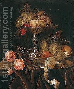 Still Life Of Fruit In A Silver Tazza Together With Grapes, Bread, Roses, A Wine Glass And A Peeled Lemon On A Pewter Dish, All Arranged On A Ledge Draped With A Brown Cloth by Abraham Hendrickz Van Beyeren - Reproduction Oil Painting