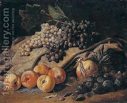 Still Life Of Grapes, Peaches, Figs And A Pomegranate by Jacob van der (Giacomo da Castello) Kerckhoven - Reproduction Oil Painting