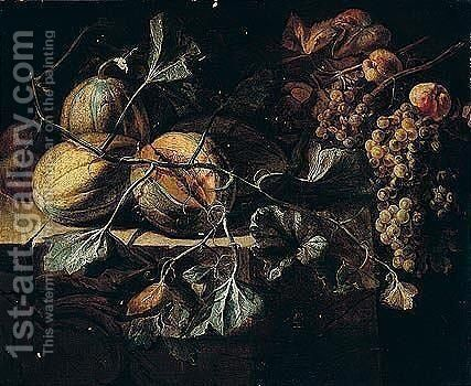 Still Life Of Melons With Apples And Grapes Arranged Upon A Stone Ledge by (after) Michaelanglo Cerquozzi - Reproduction Oil Painting