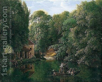 View Of 'La Brasserie' At Ermenonville, With Sportsmen Shooting Duck On A River by Alexandre-Franois-Louis Comte De Girardin - Reproduction Oil Painting