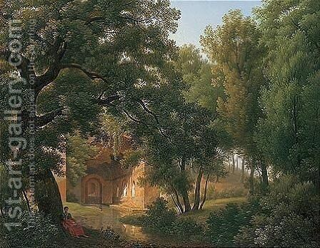 A Wooded Glade With A Figure Writing Beside A Stream Before A Roman Villa by Jean Thomas Thibault - Reproduction Oil Painting