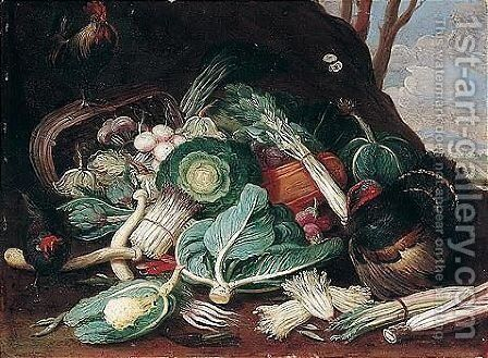 Still Life Of Vegetables, Together With A Turkey, A Cockerel And A Hen by (after) Jan Van Kessel I - Reproduction Oil Painting
