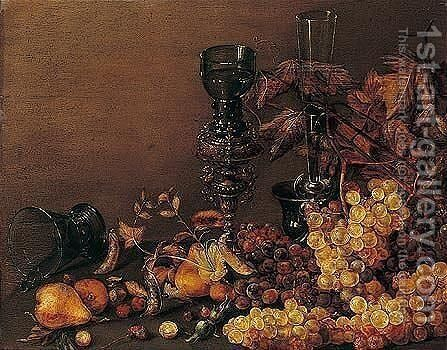 Still life of red and white grapes, pears, cherries, hazelnuts and peas, together with a facon-de-venise wine glass by (after) Roelof Koets - Reproduction Oil Painting
