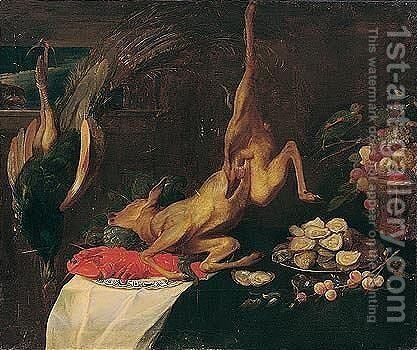 Game larder still life with deer, peacock, lobster, a dish of oysters and a basket of fruit by (after) Frans Snyders - Reproduction Oil Painting