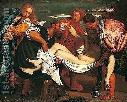 The entombment 2 by (after) Tiziano Vecellio (Titian) - Reproduction Oil Painting