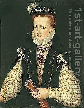 Portrait of Queen Anna of Austria (1549-1580) by (after) Alonso Sanchez Coello - Reproduction Oil Painting