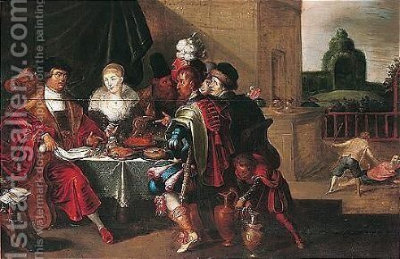 The Parable Of The Rich And Poor Man by (after) Frans II Francken - Reproduction Oil Painting