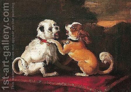 Two Dogs Playing On A Red Cushion by Abraham Danielsz Hondius - Reproduction Oil Painting