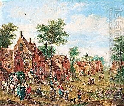 Village scene with numerous figures and a waggon by (after) Charles Beschey - Reproduction Oil Painting