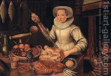 Kitchen interior with a maid preparing food by (after) Lucas Van Valckenborch - Reproduction Oil Painting