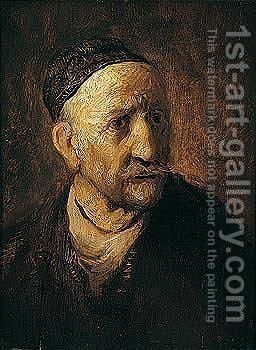Study of an old man, traditionally thought to be Rembrandt's father by (after) Harmenszoon Van Rijn Rembrandt - Reproduction Oil Painting