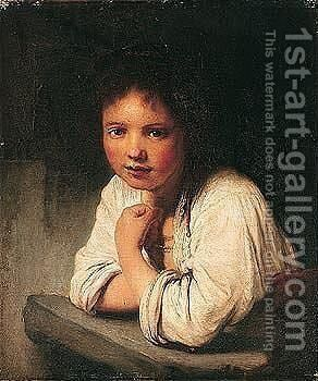 A young girl at a window by (after) Harmenszoon Van Rijn Rembrandt - Reproduction Oil Painting