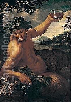 A satyr reclining in a landscape by (after) Ciro Ferri - Reproduction Oil Painting