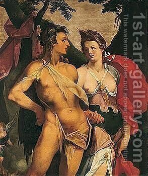 Ceres and Bacchus by (after) Bartholomeus Spranger - Reproduction Oil Painting
