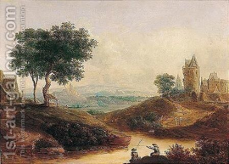 A river landscape with figures fishing before a castle by (after) Christian Georg II Schutz Or Schuz - Reproduction Oil Painting