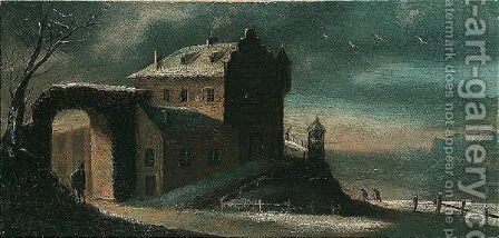 A winter landscape at dusk with travellers before a house by (after) Jan Griffier I - Reproduction Oil Painting